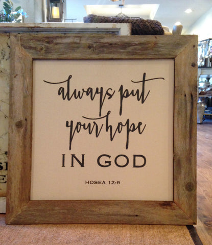 Vintage Canvas Quote- Your Hope