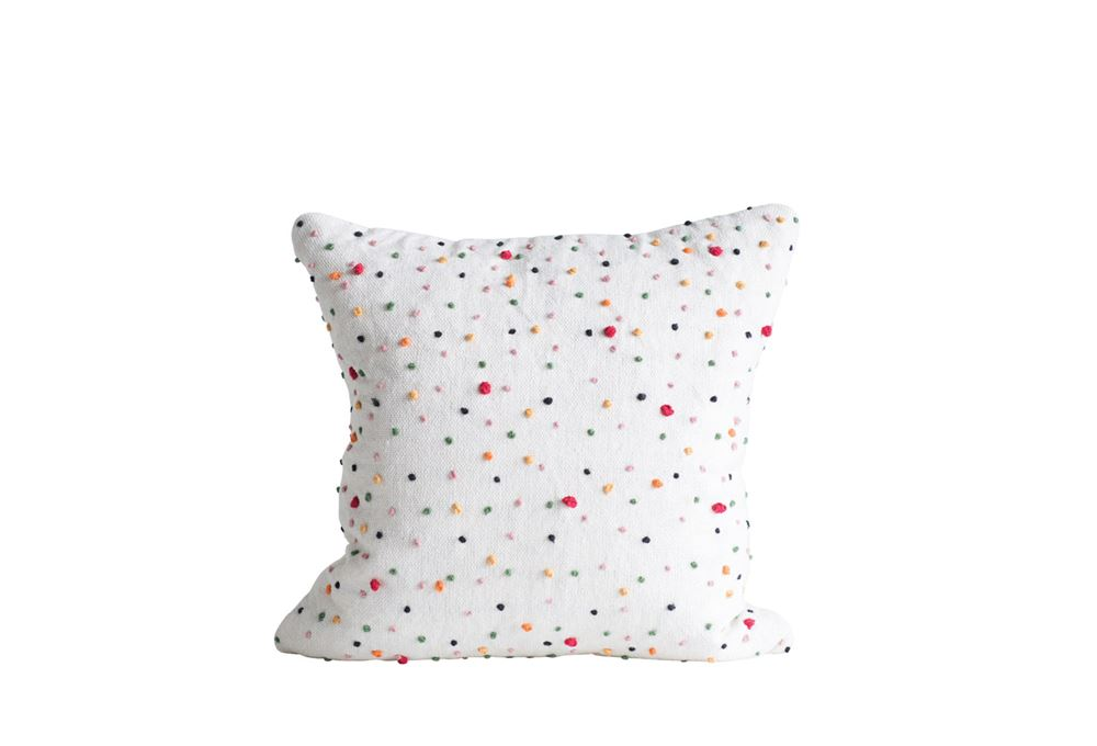 Multicolor French Knot Pillow