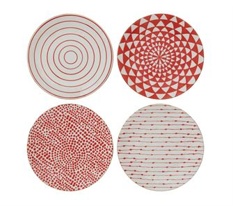 Red & Gold Stoneware Plate
