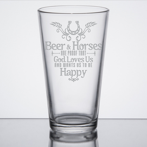 """Beer & Horses"" - 16 oz. Pint Glasses"