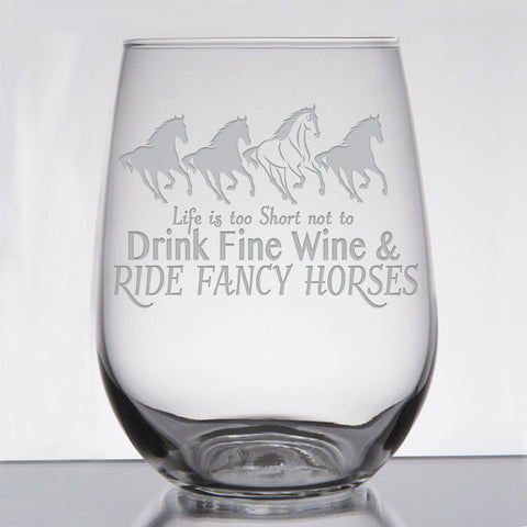 """Fine Wine & Fancy Horse"" - 21 oz. Stemless Wine  Glass Original"