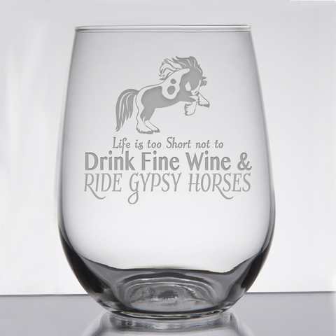 """Gypsy Horses - Wine & Fancy Horses"" - 21 oz. Stemless Wine  Glass"