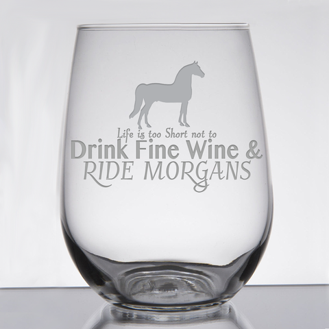 """Morgans - Wine & Fancy Horses"" - 21 oz. Stemless Wine  Glass"