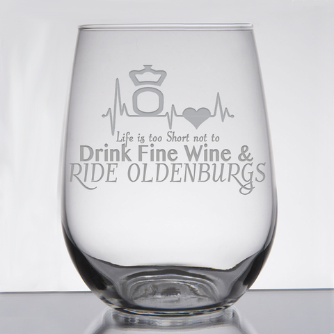 """Oldenburgs - Wine & Fancy Horses"" - 21 oz. Stemless Wine  Glass"