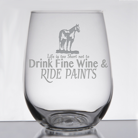"""Paints - Wine & Fancy Horses"" - 21 oz. Stemless Wine  Glass"