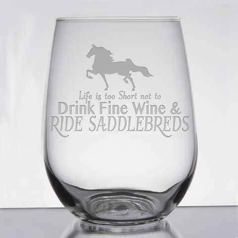 """Saddlebred - Wine & Fancy Horses"" - 21 oz. Stemless Wine  Glass"