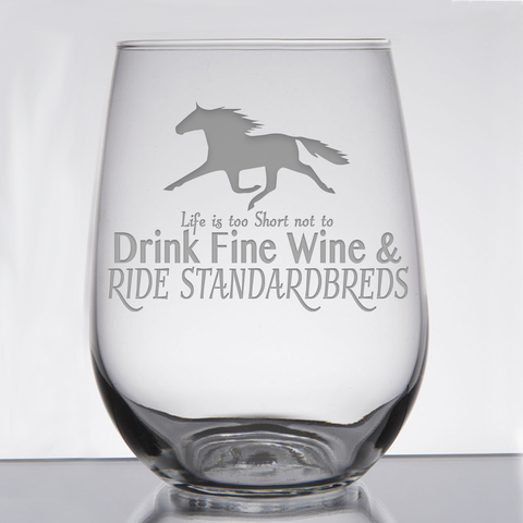 """Standardbred Fine Wine"" - 21 oz. Stemless Wine  Glass"
