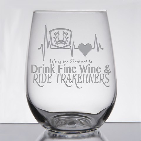"""Trakehners ""Fine Wine & Fancy Horses"" - 21 oz. Stemless Wine  Glass"