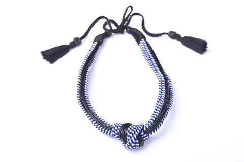 Stripe Knot Necklace in Blue - Sequence