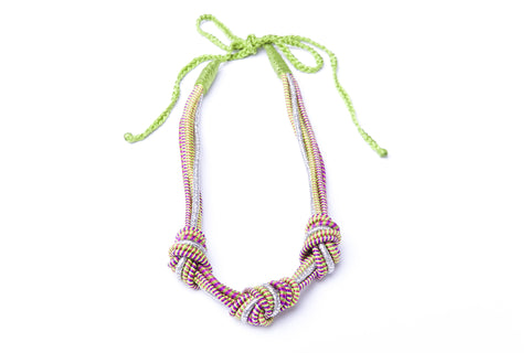 3 Knot Necklace in Green and Silver - Sequence