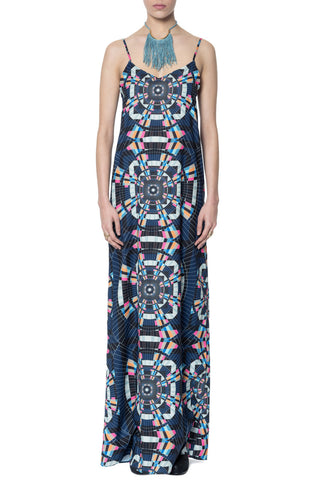 Maxi Dress in Tesselate Navy - Mara Hoffman