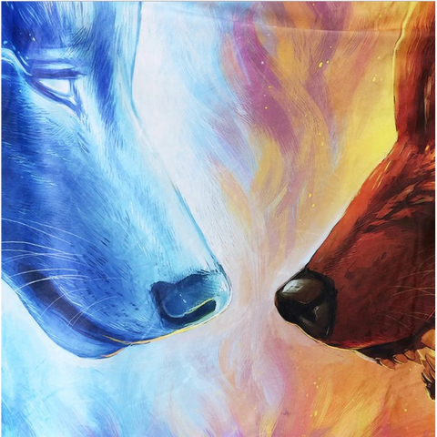 Fire and ice wolves hooded blanket