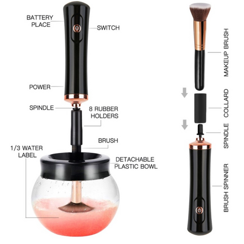 Electric make up brush cleaner
