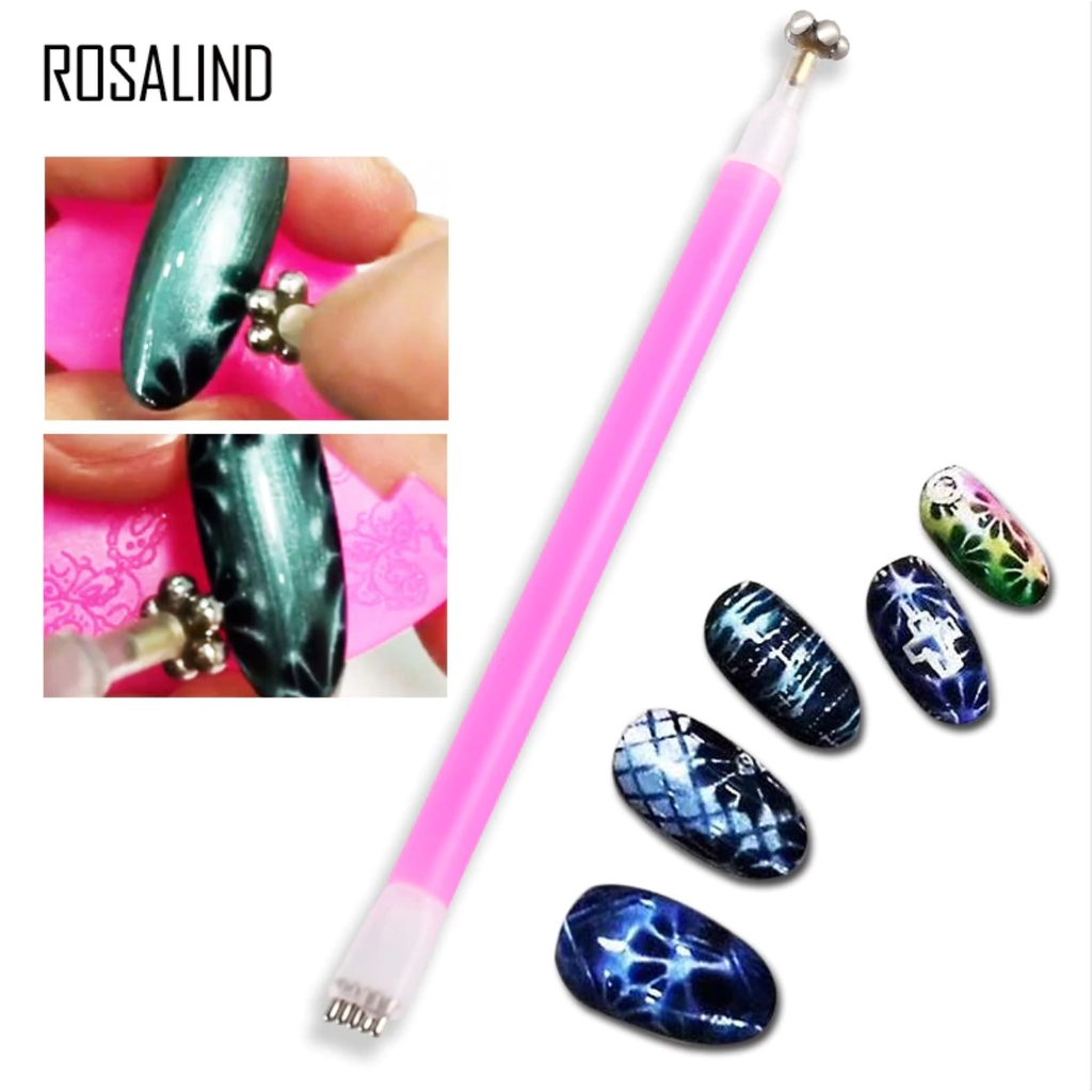 Dual Ended Flower Pattern Magnetic Nail Art Stick