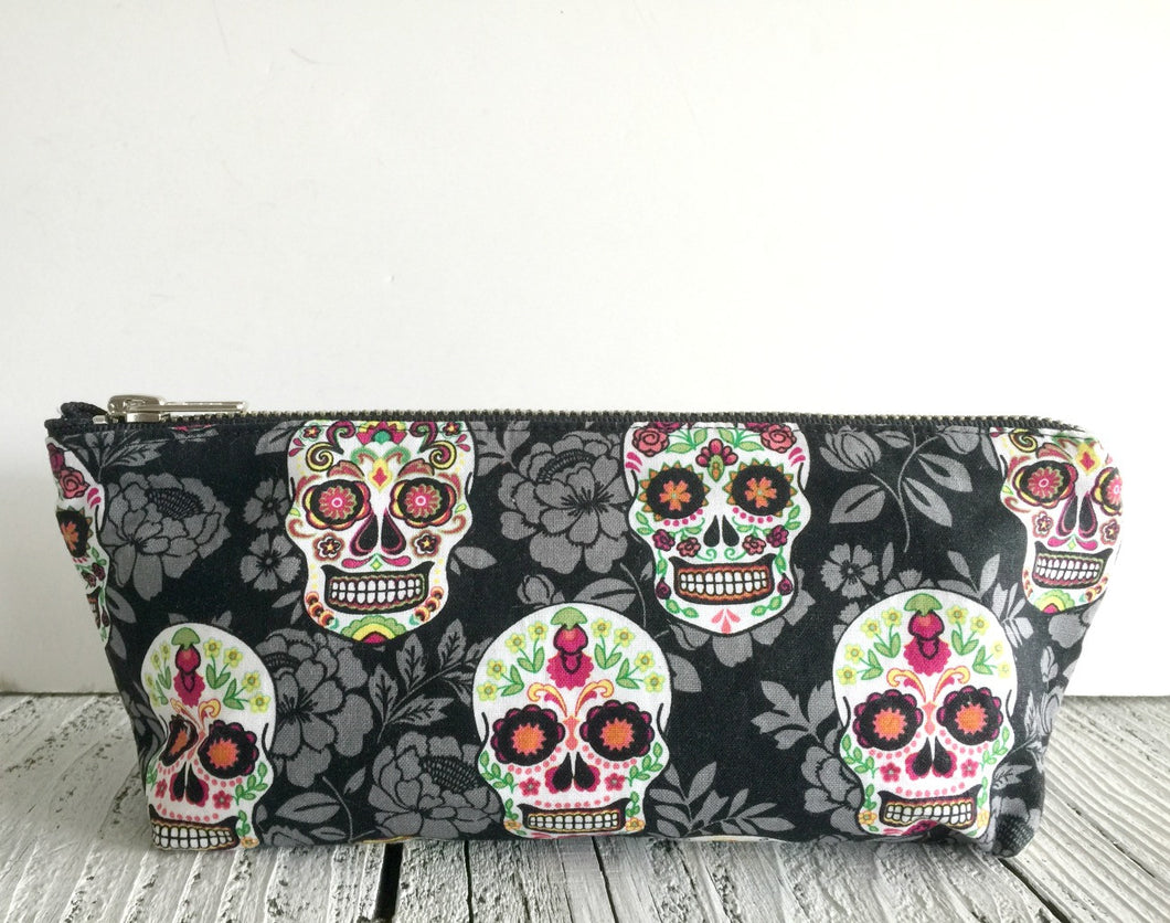 Gray Flowers Sugarskull Bag