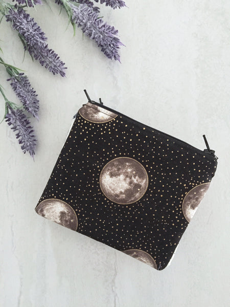 Small Zipper Pouch Full Moon Fabric