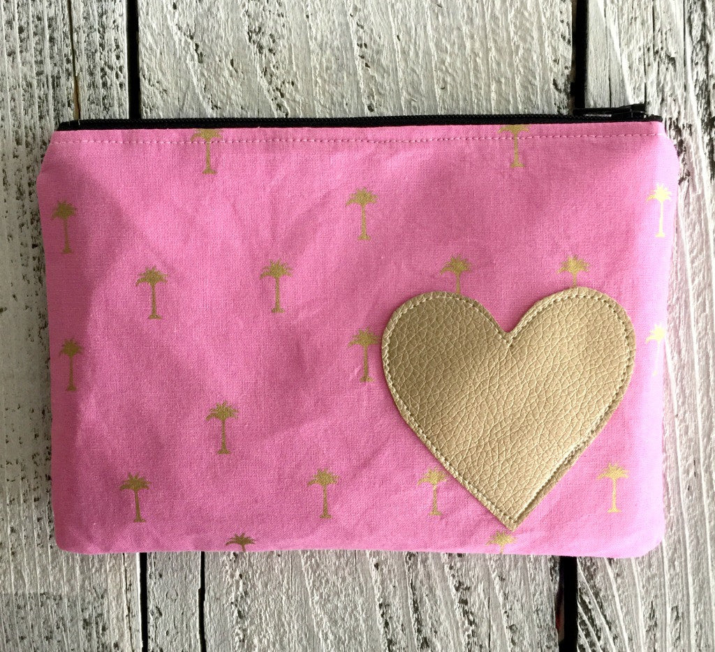 Small Pink & Gold Palm Tree Pouch