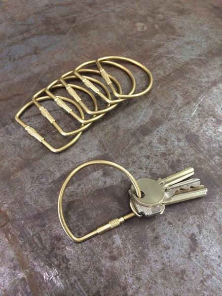 D Threaded Solid Brass Key Ring