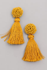 'Ball of a time' Earrings - Mustard