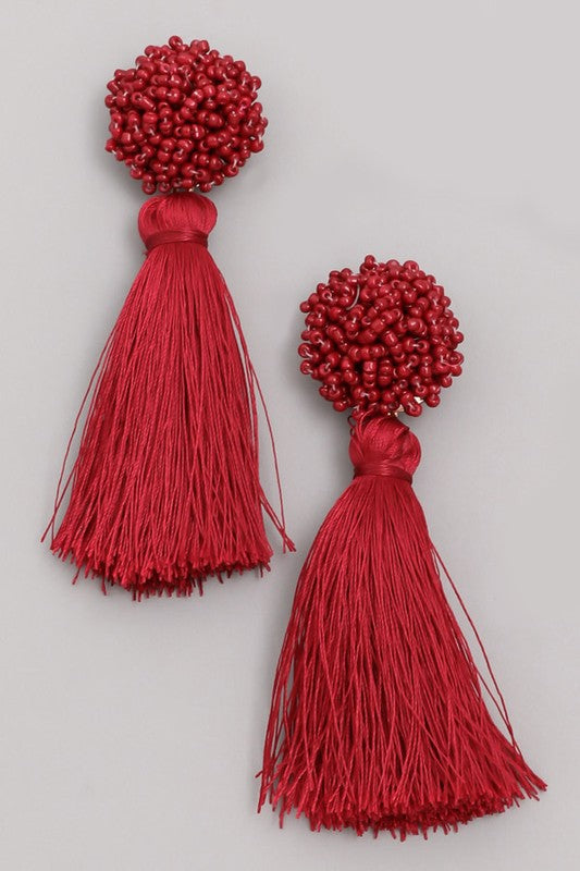 'Ball of a time' Earrings - Burgundy