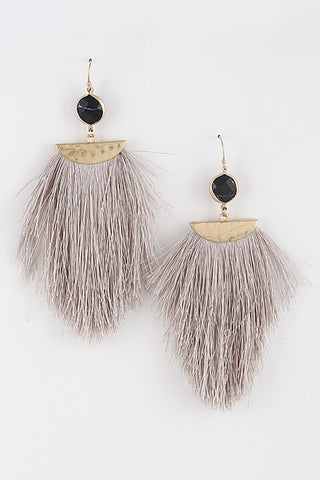 'Fringed Dancer' Tassel Earrings - Light Grey
