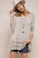 'Far & Away' Top - Taupe/Grey