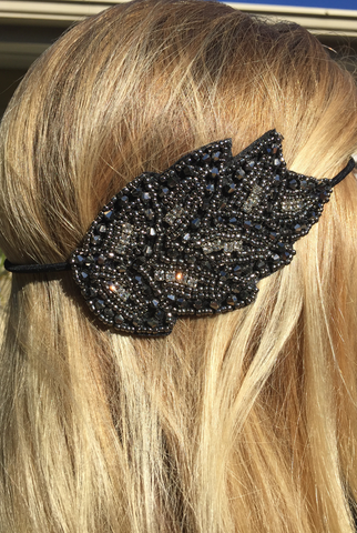 'Dew Drop Leaves' Headband - Black