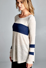 'Going The Extra Stripe' Top - Navy