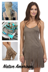 'Little Pocahontas' Dress - Olive