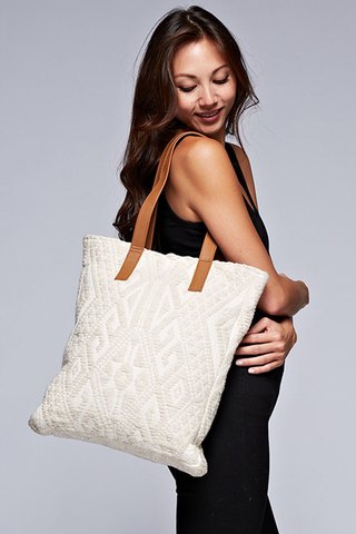'All Squared Up' Tote - Natural