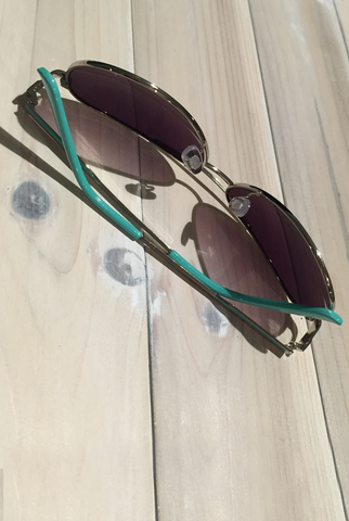 'Wanna Have Fun' Aviator Sunglasses - Turquoise