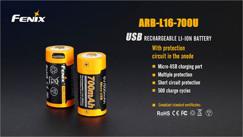 Fenix ARB-L16-700U USB 16340 Battery