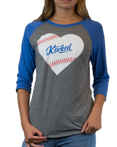 Women's Stitched Heart Baseball 3/4 Tee