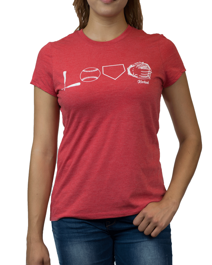 LOVE baseball (Women's) - Red