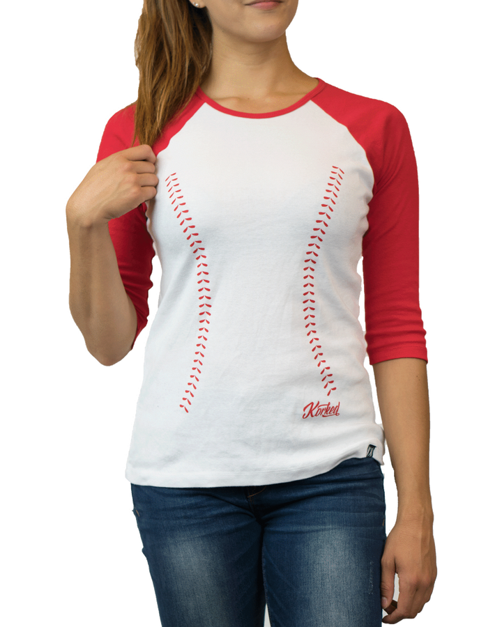 Baseball Stitch 3/4 (Women's) - White
