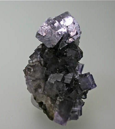 Galena and Fluorite, Denton Mine, Ozark-Mahoning Company, Harris Creek District, Southern Illinois, Mined c. 1993, Tolonen Collection, Miniature 3.0 x 4.0 x 6.0 cm, $125.  Online 1/18. SOLD