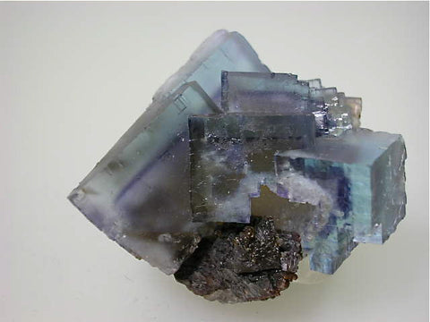 Fluorite and Sphalerite, Rosiclare Level Minerva #1 Mine, Ozark-Mahoning Company, Cave-in-Rock District, Southern Illinois, Mined c. 1991-1992, Tolonen Collection, Miniature 4.5 x 4.8 x 5.0 cm, $450.  Online 1/13. SOLD.