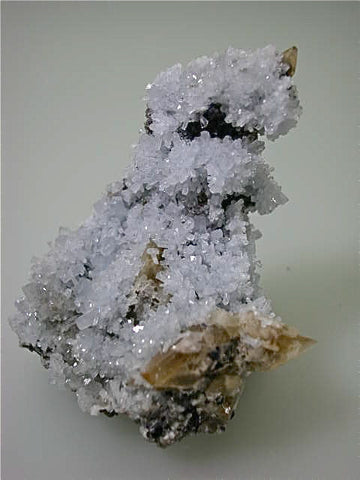 Celestite on Calcite with Fluorite, Sub-Rosiclare Level, Annabel Lee Mine, Ozark-Mahoning Company, Harris Creek District, Southern Illinois, Mined c. 1986, Tolonen Collection, Small Cabinet 6.0 x 7.0 x 9.0 cm, $450. SOLD.