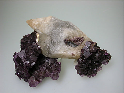 Fluorite and Calcite, Hill-Ledford Mine attr., Ozark-Mahoning Company, Cave-in-Rock District, Southern Illinois, Mined ca. early 1960s, Noll Collection #CN10421, Medium Cabinet 8.0 x 12.5 x 18.0 cm, $250. Online 7/19. SOLD.