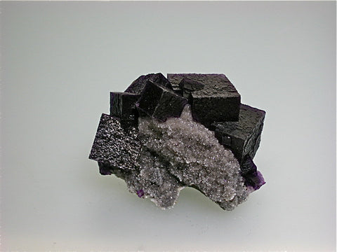 Fluorite on Quartz, Hill-Ledford Mine attr., Ozark-Mahoning Company, Cave-in-Rock District Southern Illinois, Mined ca. early 1960s, Noll Collection #CN2547, Miniature 4.0 x 6.0 x 7.5 cm, $250. Online 07/11. SOLD