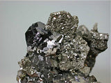 Pyrite after Pyrrhotite with Sphalerite and Arsenopyrite, Trepca Complex, Kosovska Municipality, near Mitrovica, Kosovo Small cabinet 5 x 5.5 x 6.5 cm $125. Mined 2014. Online 10/21. SOLD.