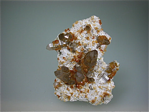 Spessartine on Quartz, Tongbei, Yunxiao Co., Zhangzhou Prefecture, Fujian Province, China, Mined c. 2005, Kalaskie Collection #792, Small Cabinet, 2.0 x 6.0 x 8.0 cm, $350. Online 1/12