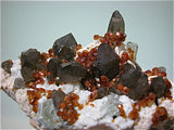 Spessartine on Quartz, Tongbei Area, Fujian Province, China, Mined c. 2004, Kalaskie Collection #1000, Small Cabinet, 6.2 x 6.5 x 13.7 cm, $450. Online 1/12