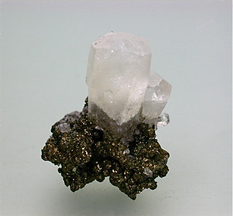 Calcite on Chalcopyrite, Sweetwater Mine, Reynolds County, Missouri, Mined c. 2000, Kalaskie Collection #1304, Miniature 2.8 x 3.5 x 4.0 cm, $35.  Online 11/2