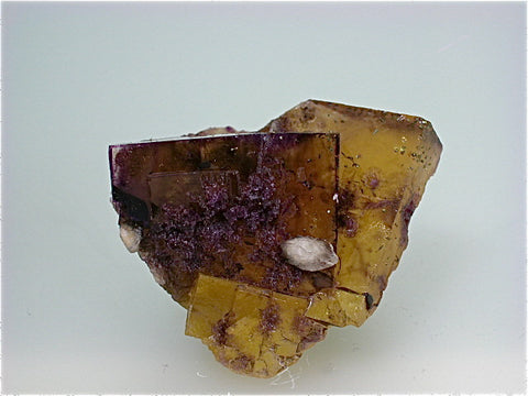 Calcite on Fluorite, attr. Bethel Level, Ozark-Mahoning Company, Cave-in-Rock District Southern Illinois, Mined ca. 1960s - 1970s, Fowler Collection, Miniature 5.0 x 5.5 x 7.0 cm, $100. Online 07/11.  SOLD.