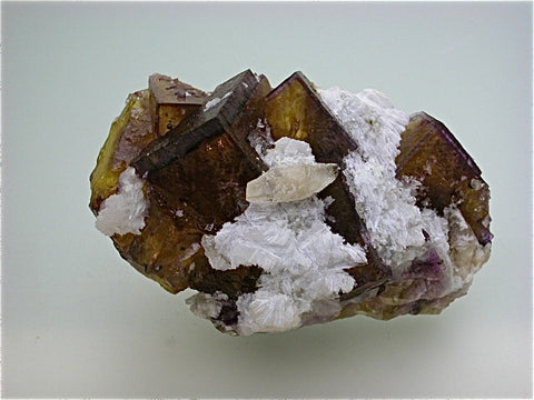 Fluorite with Calcite and Strontianite, Rosiclare Level Minerva#1 Mine, Ozark-Mahoning Company attr., Cave-in-Rock District, Southern Illinois, Mined ca. early 1990s, Noll Collection #CN5055, Small Cabinet 5.0 x 6.5 x 10.5 cm, $200. Online 7/19. SOLD.