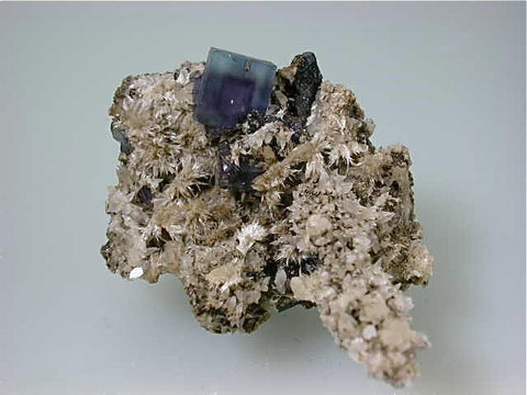 Fluorite and Strontianite, Rosiclare Level, Minerva #1 Mine, Ozark-Mahoning Company, Cave-in-Rock District, Southern Illinois, Mined c. 1995, Small Cabinet 4.5 x 6.0 x 9.0 cm, $75.  Online 11/2. SOLD.