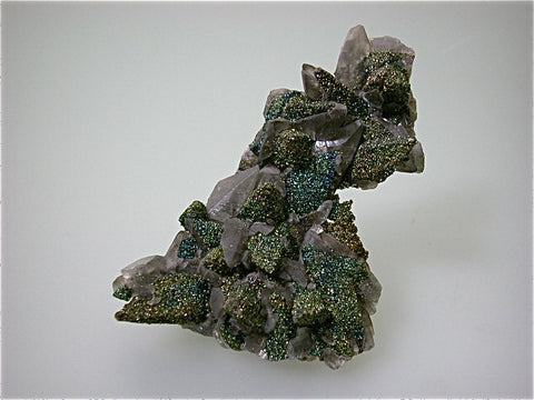 SOLD Chalcopyrite on Calcite, Brushy Creek Mine, Viburnum Trend, Missouri, Collected ca. 2007, Kalaskie Collection #275, Small Cabinet 3.5 x 8.0 x 12.0 cm, $350. Online 1/12