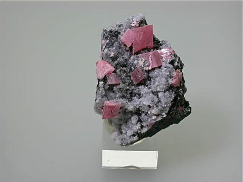 Rhodochrosite on Quartz, American Tunnel, Sunnyside Mine, Silverton, Colorado, Mined c. late 1960s, Kalaskie Collection #426, Miniature 4.0 x 4.5 x 6.0 cm, $350.  Online 11/10