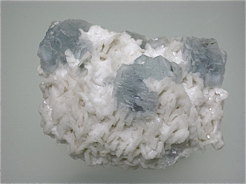 SOLD Fluorite on Dolomite, Shangbao Mine, Leiyang, Hunan Province China, Mined ca. 1996, Kalaskie Collection #42-285, Small Cabinet 4.5 x 7.5 x 11.0 cm, $300.  Online 3/1.